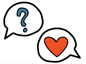 On Our Sleeves speech bubbles with question marks and heart