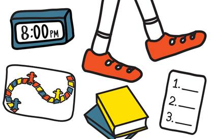 image of books, walking feet, alarm clock and board game