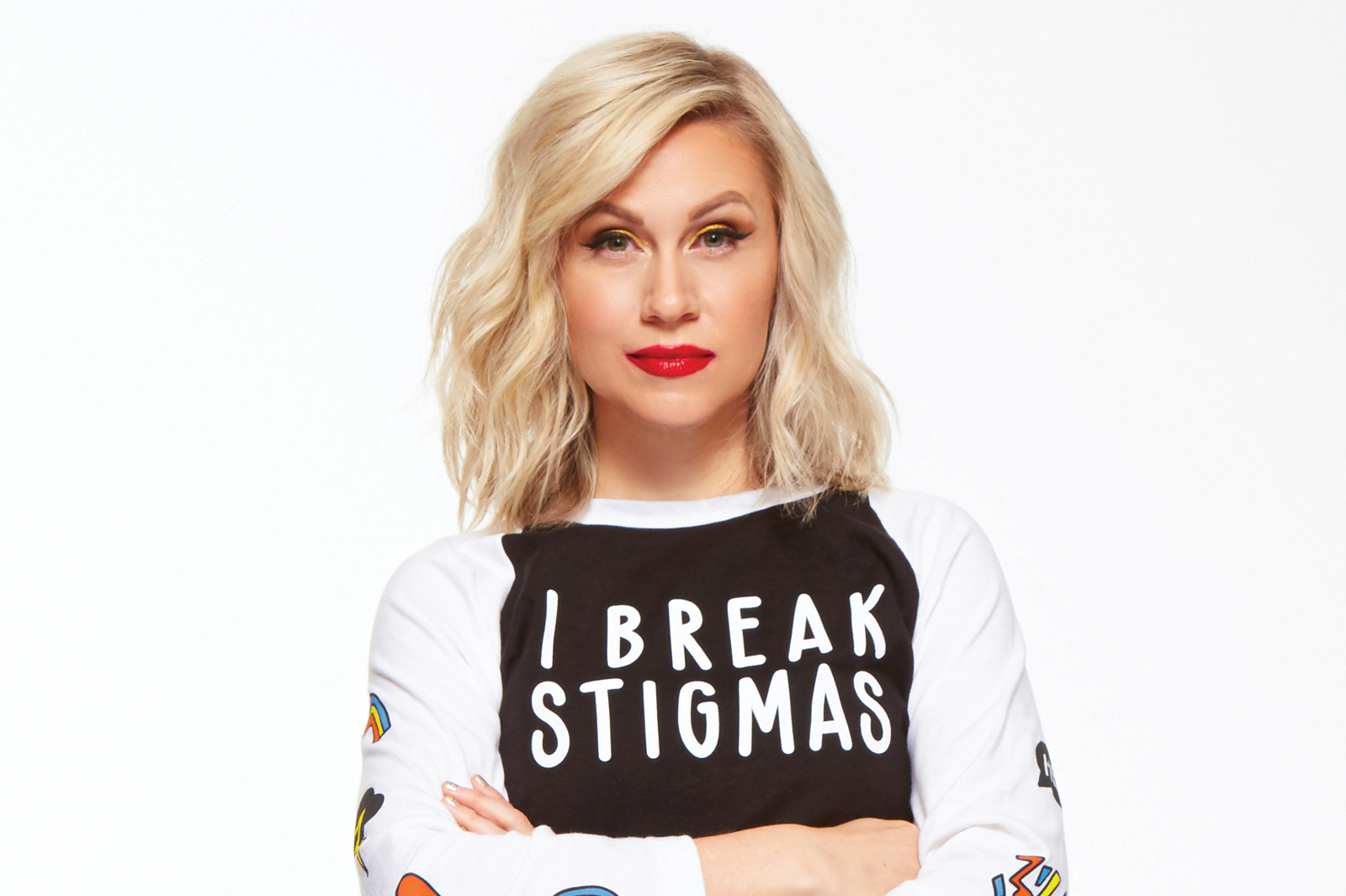 Ashley Eckstein wearing the 'I Break Stigmas Shirt' baseball t-shirt