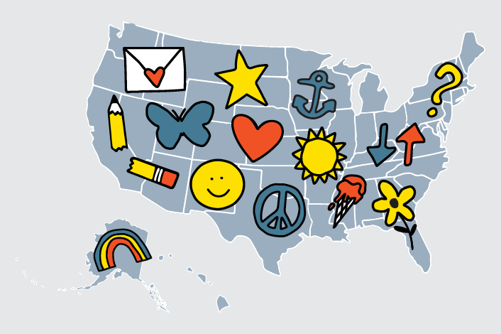 map of United States with On Our Sleeves icons